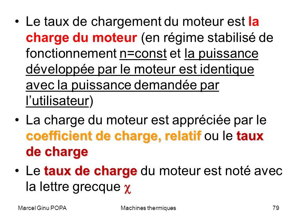 Marcel Ginu POPAMachines thermiques79 Le taux de chargement du moteur est la charge du moteur (en régime stabilisé de fonctionnement n=const et la pui