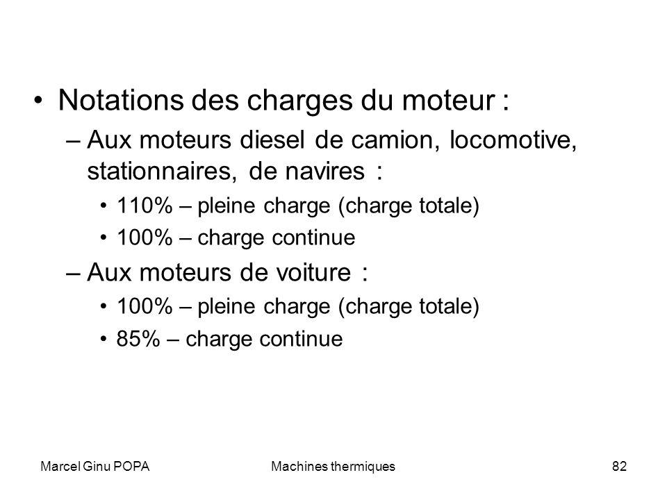 Marcel Ginu POPAMachines thermiques82 Notations des charges du moteur : –Aux moteurs diesel de camion, locomotive, stationnaires, de navires : 110% –