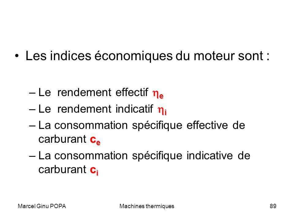 Marcel Ginu POPAMachines thermiques89 Les indices économiques du moteur sont : e –Le rendement effectif e i –Le rendement indicatif i c e –La consomma