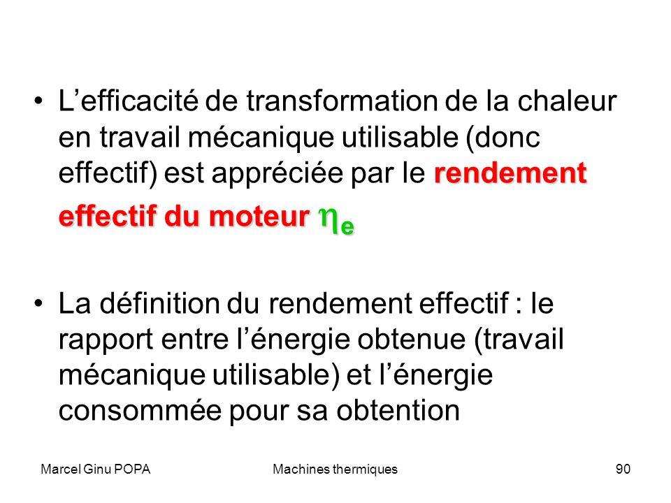 Marcel Ginu POPAMachines thermiques90 rendement effectif du moteur eLefficacité de transformation de la chaleur en travail mécanique utilisable (donc