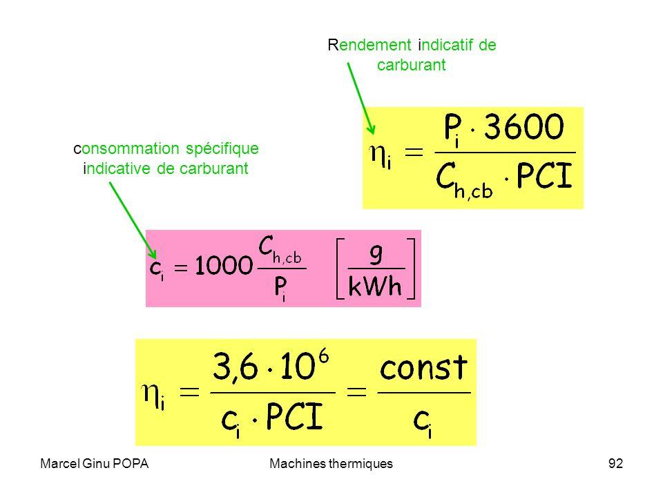 Marcel Ginu POPAMachines thermiques92 Rendement indicatif de carburant consommation spécifique indicative de carburant