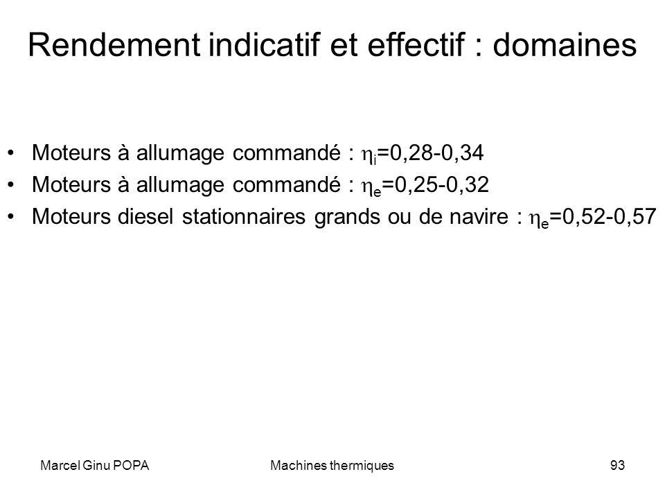 Marcel Ginu POPAMachines thermiques93 Rendement indicatif et effectif : domaines Moteurs à allumage commandé : i =0,28-0,34 Moteurs à allumage command