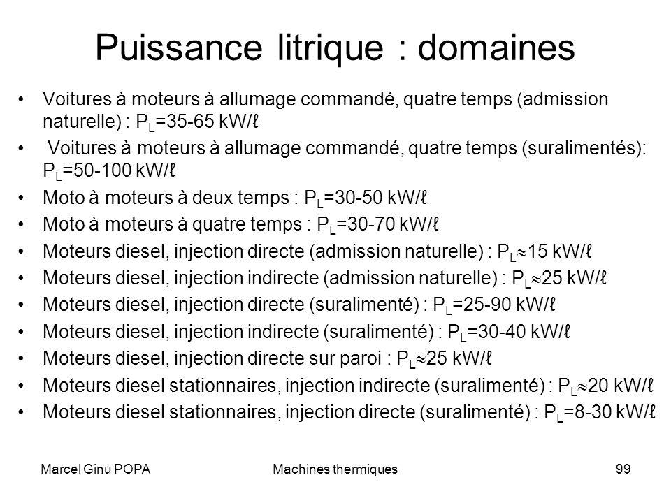 Marcel Ginu POPAMachines thermiques99 Puissance litrique : domaines Voitures à moteurs à allumage commandé, quatre temps (admission naturelle) : P L =