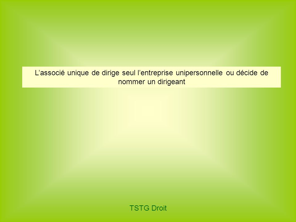 TSTG Droit Lassocié unique de dirige seul lentreprise unipersonnelle ou décide de nommer un dirigeant