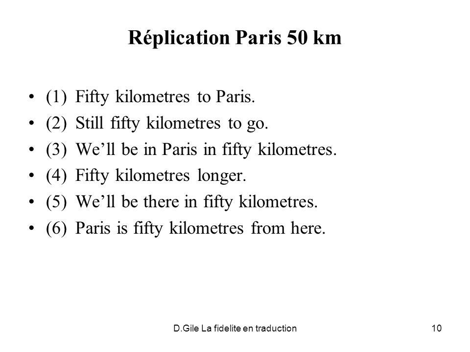 D.Gile La fidelite en traduction10 Réplication Paris 50 km (1)Fifty kilometres to Paris. (2)Still fifty kilometres to go. (3)Well be in Paris in fifty