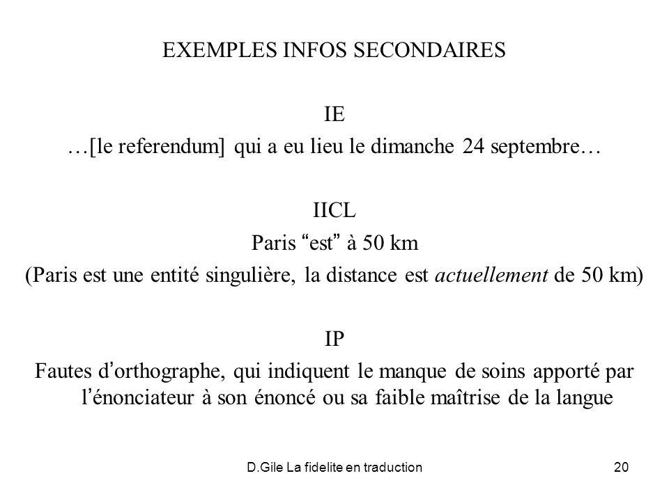 D.Gile La fidelite en traduction20 EXEMPLES INFOS SECONDAIRES IE …[le referendum] qui a eu lieu le dimanche 24 septembre… IICL Paris est à 50 km (Pari