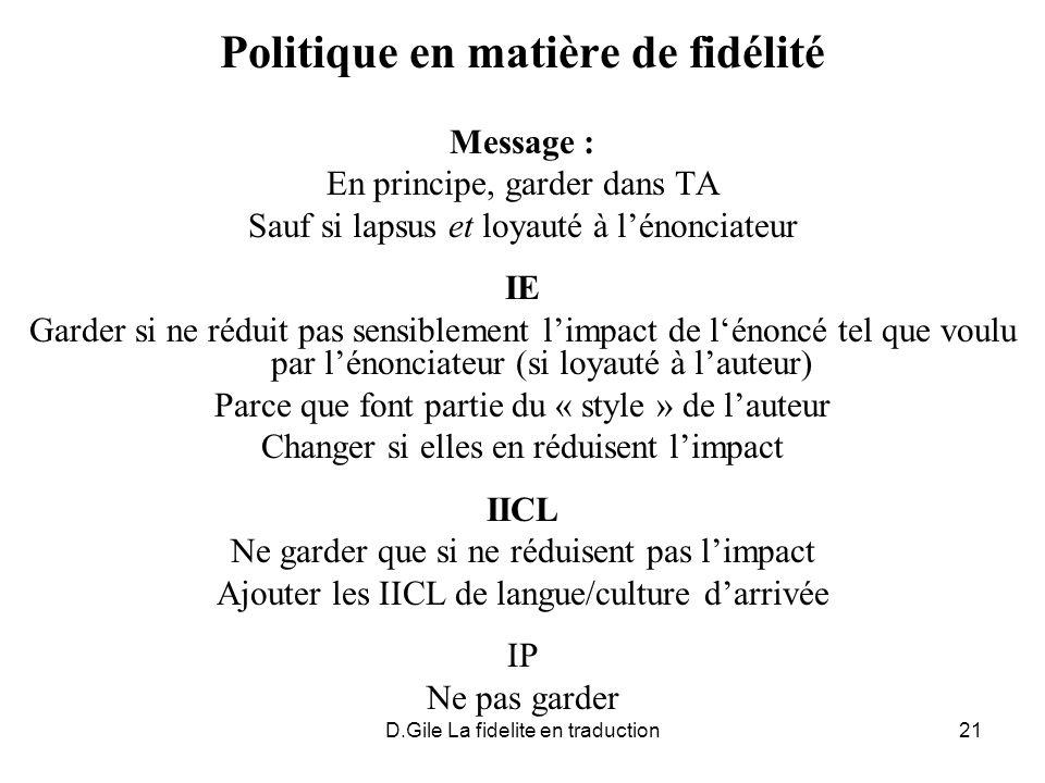 D.Gile La fidelite en traduction21 Politique en matière de fidélité Message : En principe, garder dans TA Sauf si lapsus et loyauté à lénonciateur IE