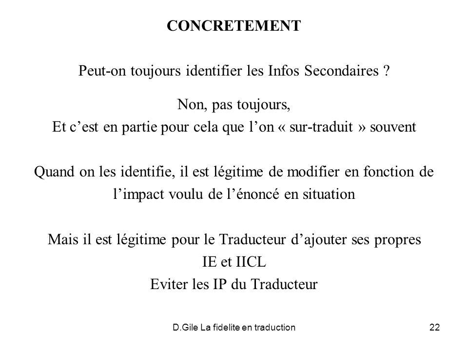 D.Gile La fidelite en traduction22 CONCRETEMENT Peut-on toujours identifier les Infos Secondaires ? Non, pas toujours, Et cest en partie pour cela que
