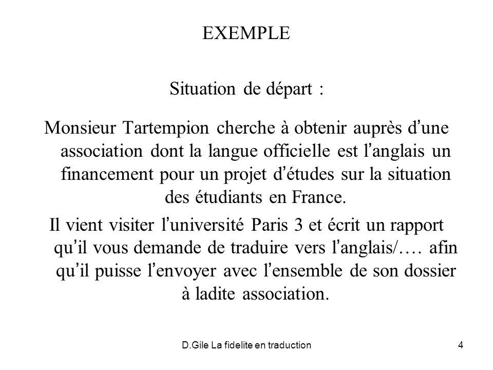D.Gile La fidelite en traduction4 EXEMPLE Situation de départ : Monsieur Tartempion cherche à obtenir auprès d une association dont la langue officiel