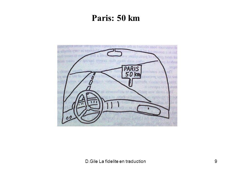 D.Gile La fidelite en traduction10 Réplication Paris 50 km (1)Fifty kilometres to Paris.