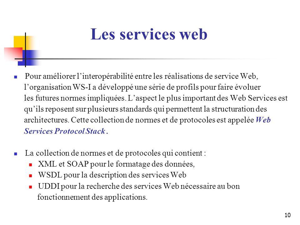 10 Pour améliorer linteropérabilité entre les réalisations de service Web, lorganisation WS-I a développé une série de profils pour faire évoluer les