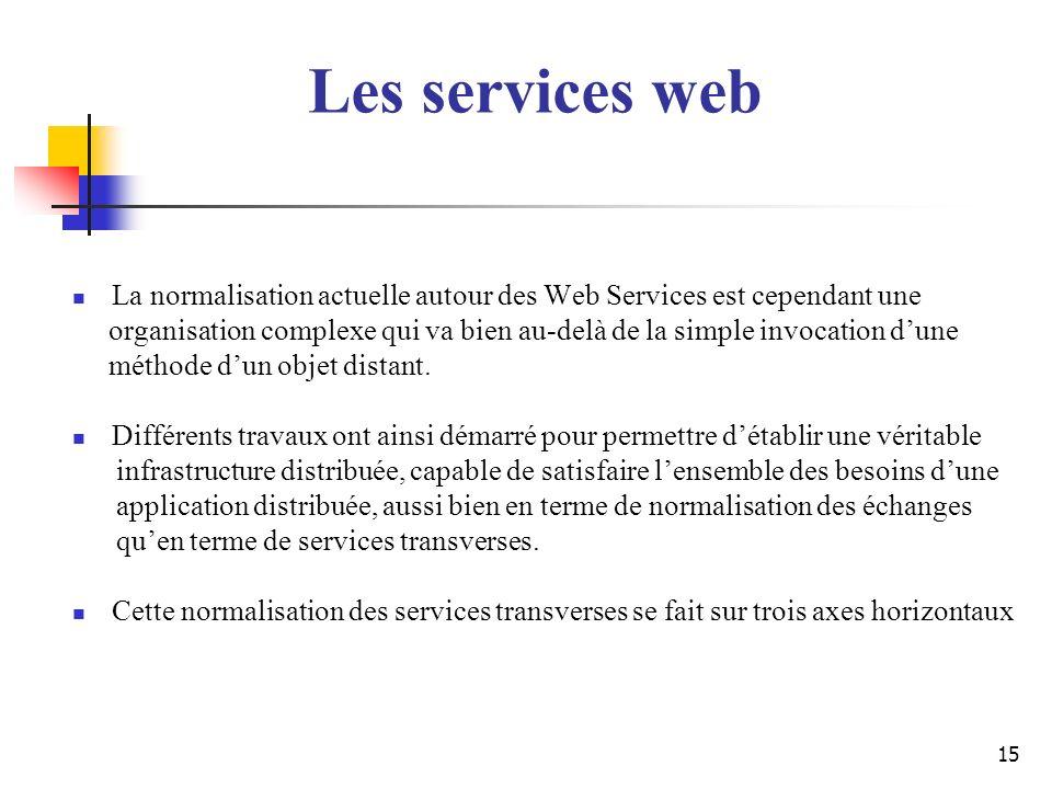 15 La normalisation actuelle autour des Web Services est cependant une organisation complexe qui va bien au-delà de la simple invocation dune méthode