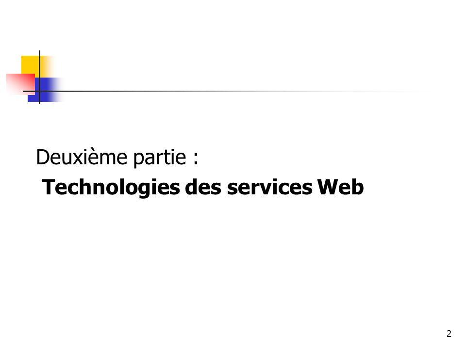 2 Deuxième partie : Technologies des services Web