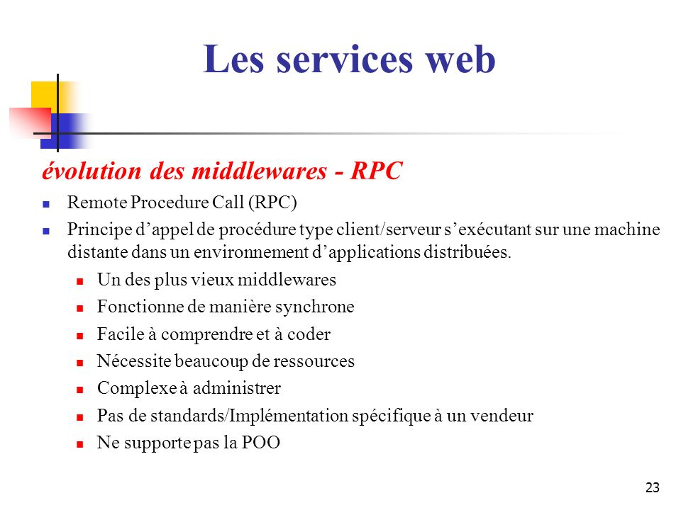 23 évolution des middlewares - RPC Remote Procedure Call (RPC) Principe dappel de procédure type client/serveur sexécutant sur une machine distante da