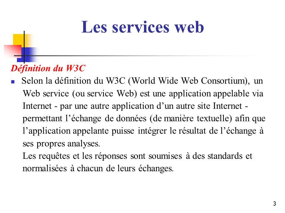 4 Quelques définitions Les services web permettent linvocation de fonctions distantes, présentes sur des systèmes distribués et hétérogènes, grâce au protocole HTTP et à XML.