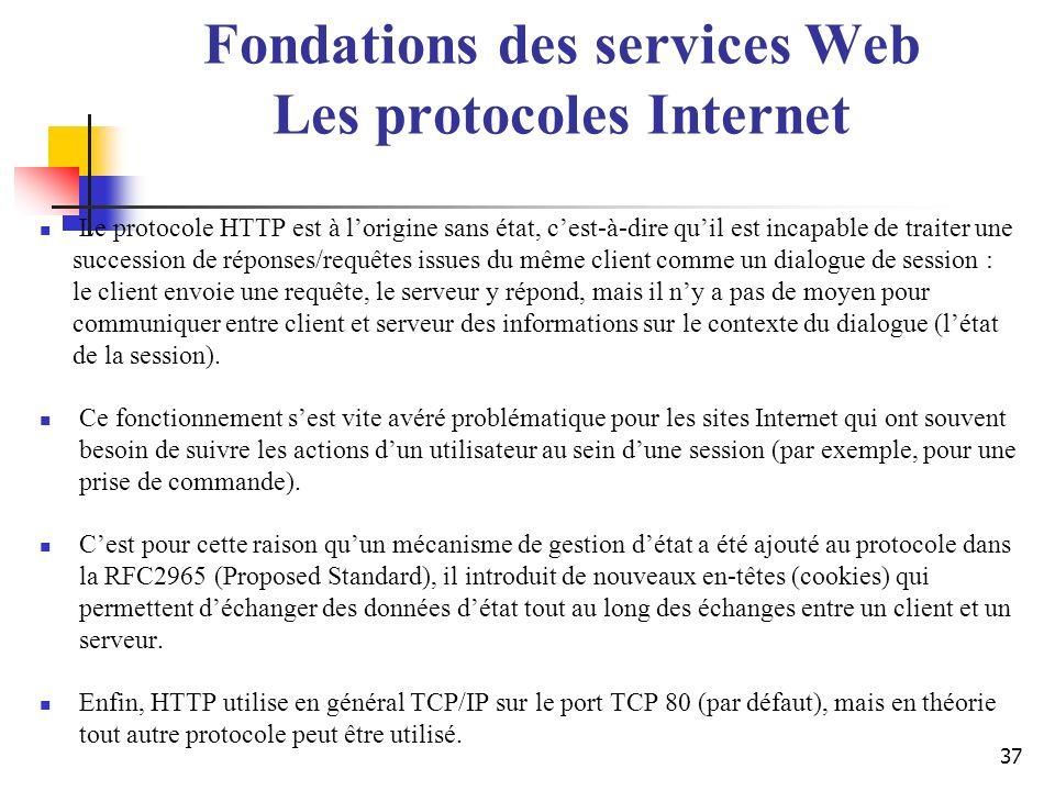 37 Le protocole HTTP est à lorigine sans état, cest-à-dire quil est incapable de traiter une succession de réponses/requêtes issues du même client com