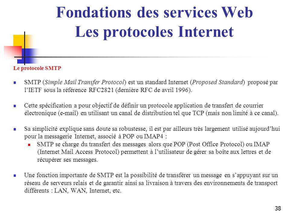 38 Le protocole SMTP SMTP (Simple Mail Transfer Protocol) est un standard Internet (Proposed Standard) proposé par lIETF sous la référence RFC2821 (de