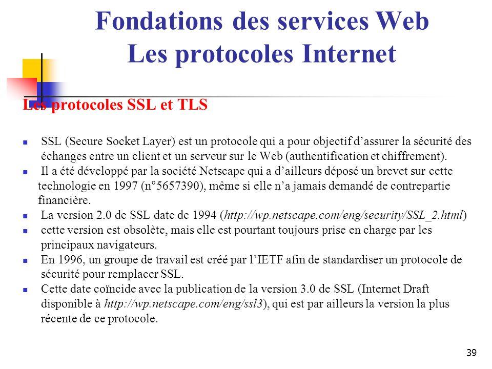 39 Les protocoles SSL et TLS SSL (Secure Socket Layer) est un protocole qui a pour objectif dassurer la sécurité des échanges entre un client et un se