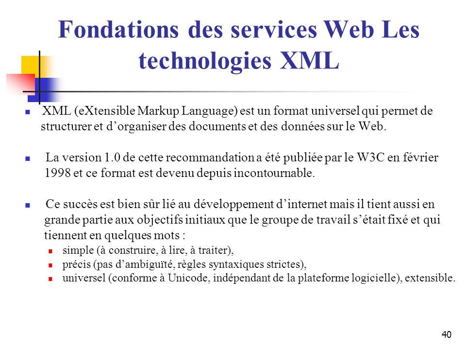 40 XML (eXtensible Markup Language) est un format universel qui permet de structurer et dorganiser des documents et des données sur le Web. La version