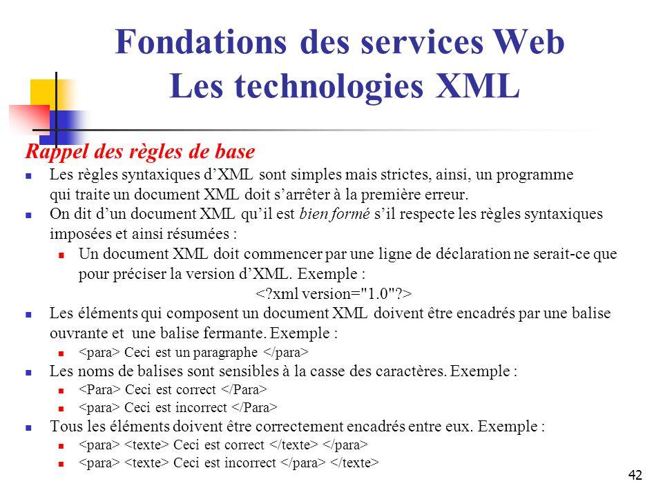 42 Rappel des règles de base Les règles syntaxiques dXML sont simples mais strictes, ainsi, un programme qui traite un document XML doit sarrêter à la