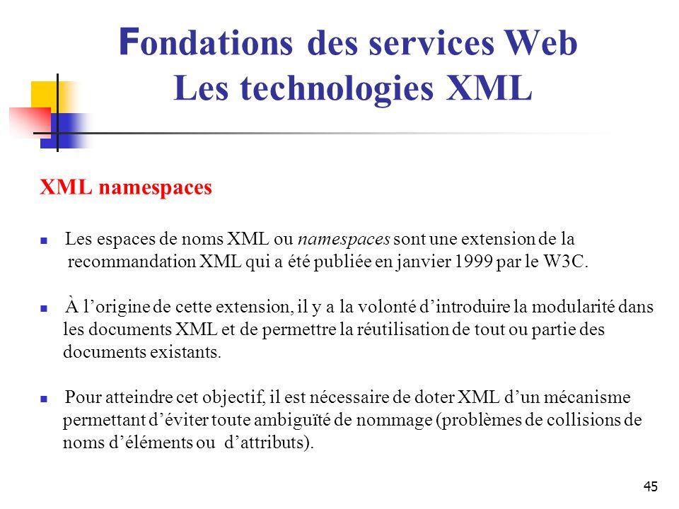 45 XML namespaces Les espaces de noms XML ou namespaces sont une extension de la recommandation XML qui a été publiée en janvier 1999 par le W3C. À lo