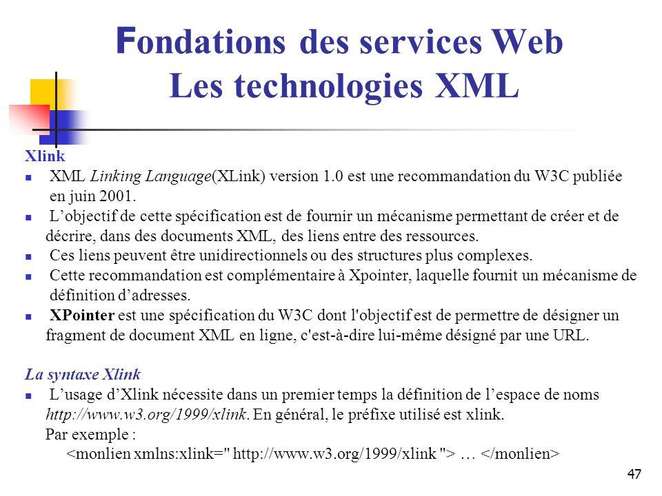 47 Xlink XML Linking Language(XLink) version 1.0 est une recommandation du W3C publiée en juin 2001. Lobjectif de cette spécification est de fournir u