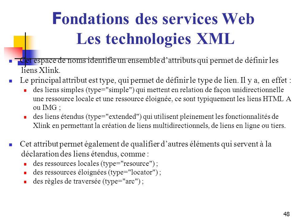 48 Cet espace de noms identifie un ensemble dattributs qui permet de définir les liens Xlink. Le principal attribut est type, qui permet de définir le