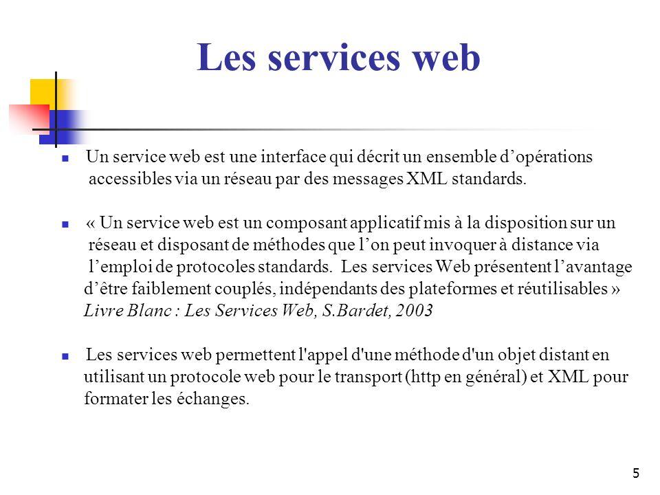 5 Un service web est une interface qui décrit un ensemble dopérations accessibles via un réseau par des messages XML standards. « Un service web est u