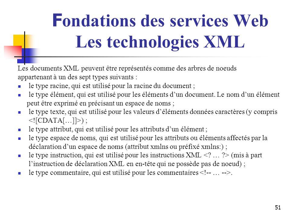 51 F ondations des services Web Les technologies XML Les documents XML peuvent être représentés comme des arbres de noeuds appartenant à un des sept t