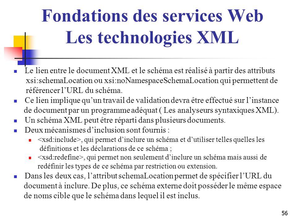 56 Le lien entre le document XML et le schéma est réalisé à partir des attributs xsi:schemaLocation ou xsi:noNamespaceSchemaLocation qui permettent de