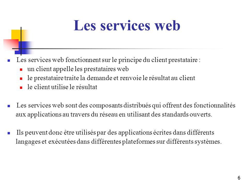 57 Généralités SOAP SOAP est un protocole de communication entre application basé sur le langage XML Initialement SOAP désignait lacronyme de Simple Object Access Protocol Qui est derrière SOAP (Microsoft et IBM) Objectifs visés Assurer la communication entre applications dune même entreprise (intranet) Assurer les échanges inter-entreprises entre applications et services Web Spécification du W3C SOAP 1.1 : http://www.w3.org/TR/2000/NOTE-SOAP-20000508/ SOAP 1.2 : http://www.w3.org/TR/soap12/http://www.w3.org/TR/soap12/ Pour comparaison, SOAP est similaire aux protocoles « RPC »