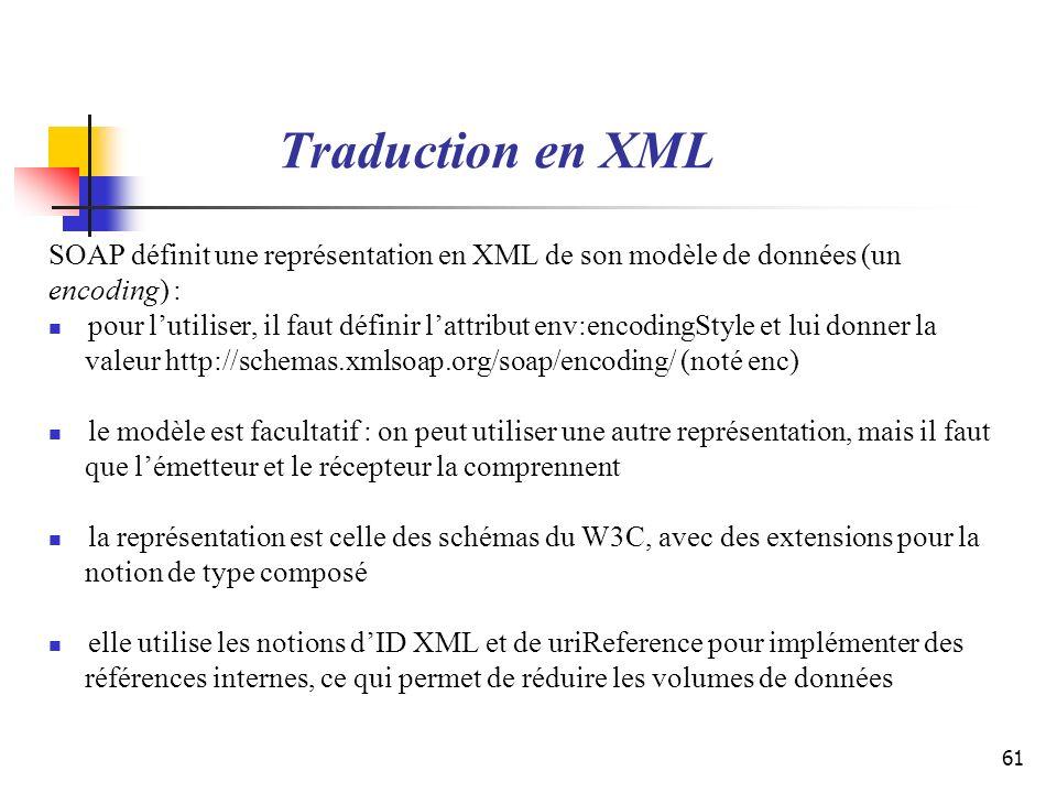 61 Traduction en XML SOAP définit une représentation en XML de son modèle de données (un encoding) : pour lutiliser, il faut définir lattribut env:enc