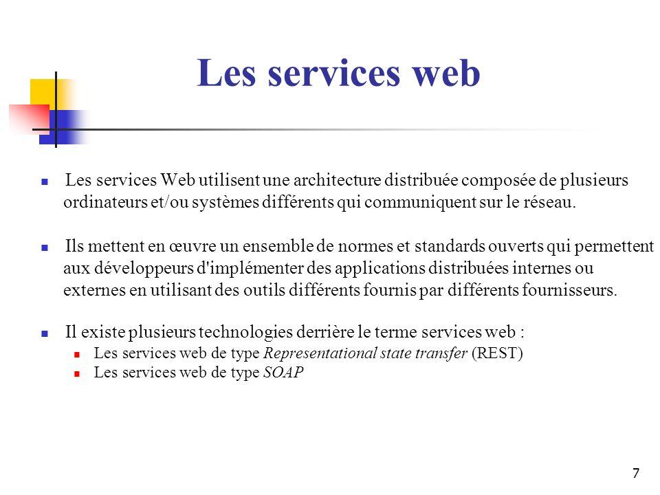 28 Exemples de services existants Google (http://www.google.com/apis/) : accès gratuit mais limité (1000 requêtes par jour après enregistrement) propose trois opérations : recherche obtention dune page depuis le cache correction orthographique Amazon(http://associates.amazon.com/exec/panama/associates/join/developer/r esources.html)http://associates.amazon.com/exec/panama/associates/join/developer/r esources accès gratuit mais limité (une requête par seconde après enregistrement) propose recherche et gestion dun panier dachats Les services web