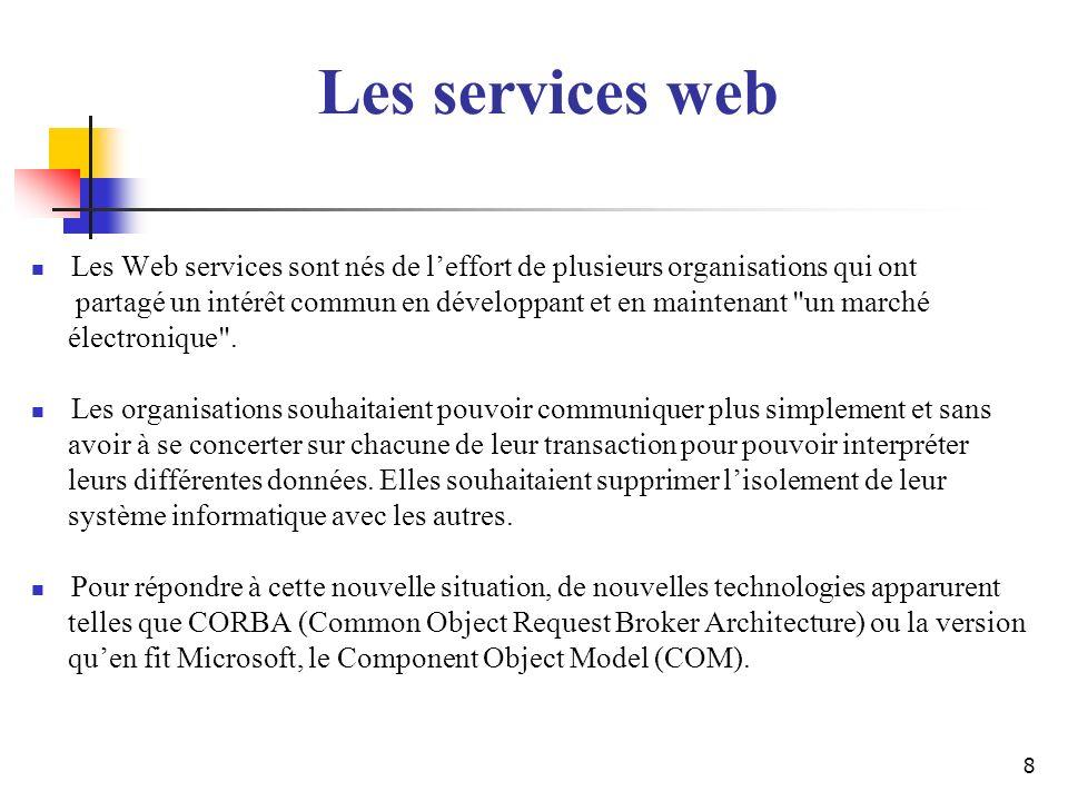 8 Les Web services sont nés de leffort de plusieurs organisations qui ont partagé un intérêt commun en développant et en maintenant