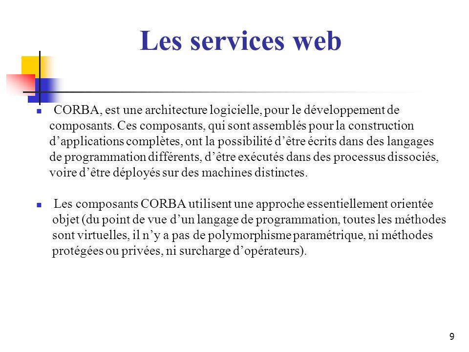 9 CORBA, est une architecture logicielle, pour le développement de composants. Ces composants, qui sont assemblés pour la construction dapplications c