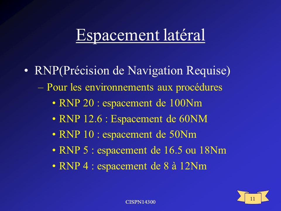 CISPN14300 11 Espacement latéral RNP(Précision de Navigation Requise) –Pour les environnements aux procédures RNP 20 : espacement de 100Nm RNP 12.6 :