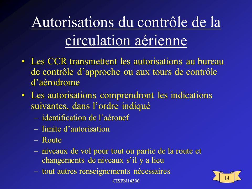 CISPN14300 14 Autorisations du contrôle de la circulation aérienne Les CCR transmettent les autorisations au bureau de contrôle dapproche ou aux tours