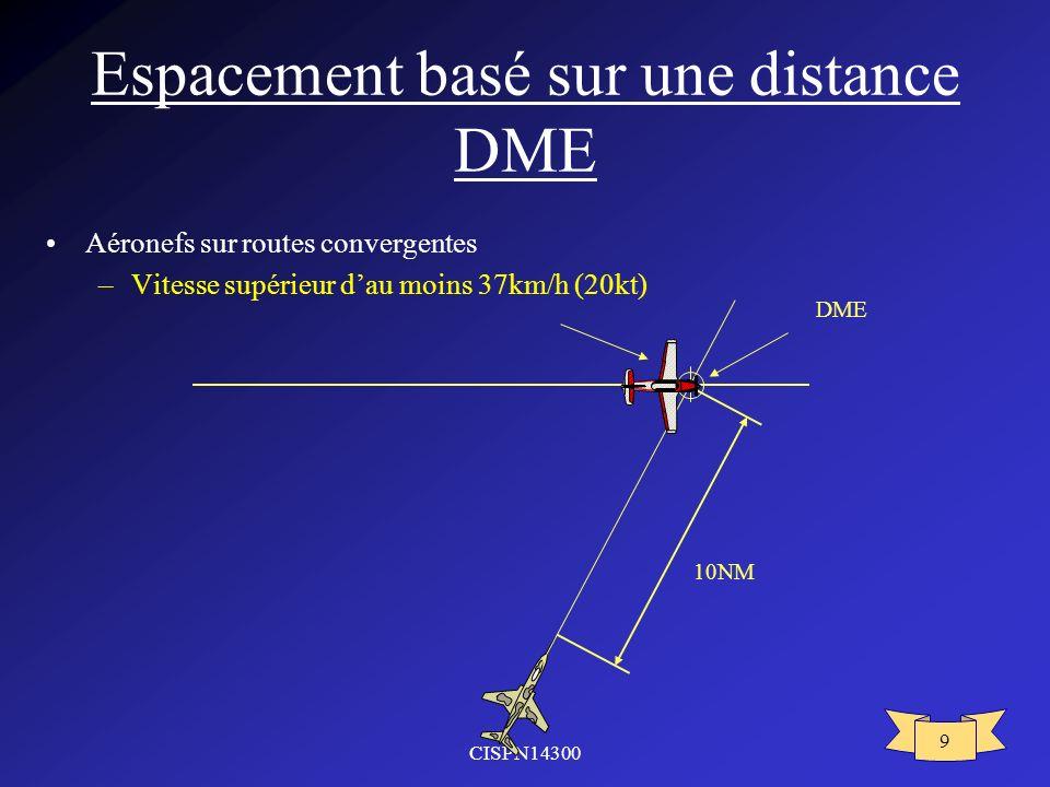 CISPN14300 9 Espacement basé sur une distance DME Aéronefs sur routes convergentes –Vitesse supérieur dau moins 37km/h (20kt) 10NM DME