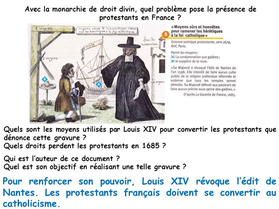 Avec la monarchie de droit divin, quel problème pose la présence de protestants en France ? Quels sont les moyens utilisés par Louis XIV pour converti