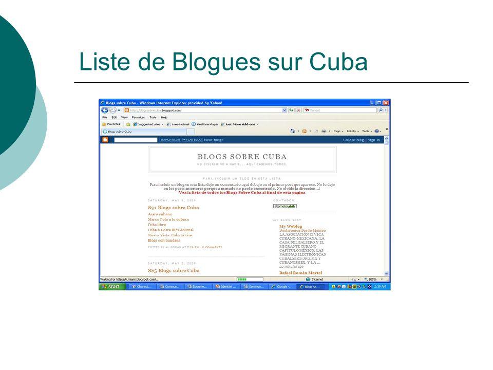 Liste de Blogues sur Cuba