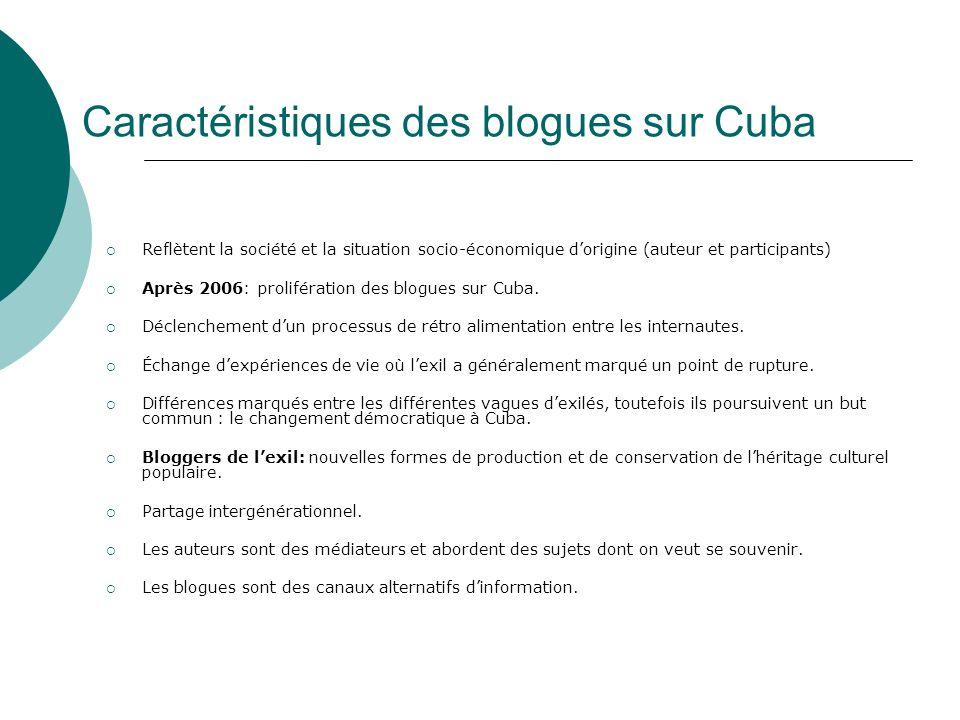 Caractéristiques des blogues sur Cuba Reflètent la société et la situation socio-économique dorigine (auteur et participants) Après 2006: prolifération des blogues sur Cuba.