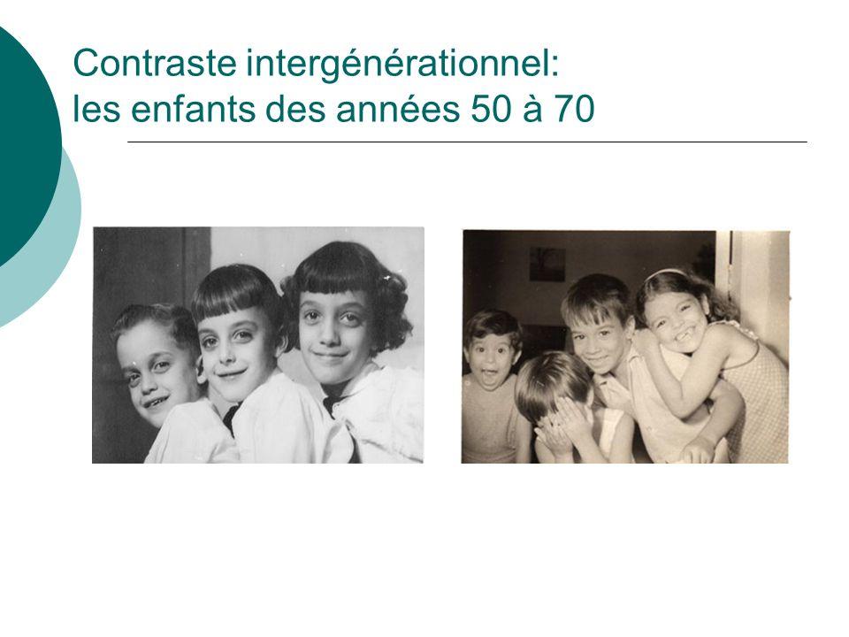 Contraste intergénérationnel: les enfants des années 50 à 70