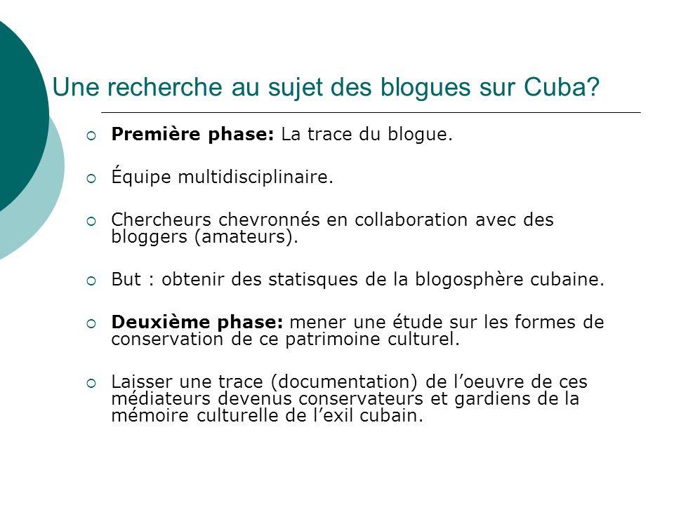 Une recherche au sujet des blogues sur Cuba? Première phase: La trace du blogue. Équipe multidisciplinaire. Chercheurs chevronnés en collaboration ave