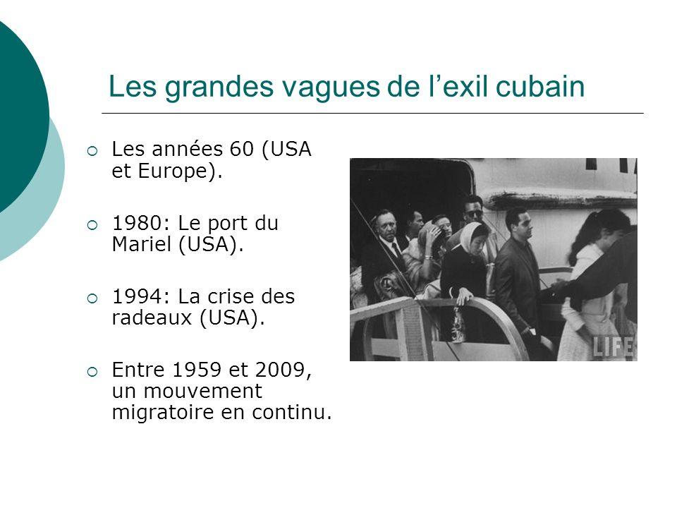 Les grandes vagues de lexil cubain Les années 60 (USA et Europe). 1980: Le port du Mariel (USA). 1994: La crise des radeaux (USA). Entre 1959 et 2009,