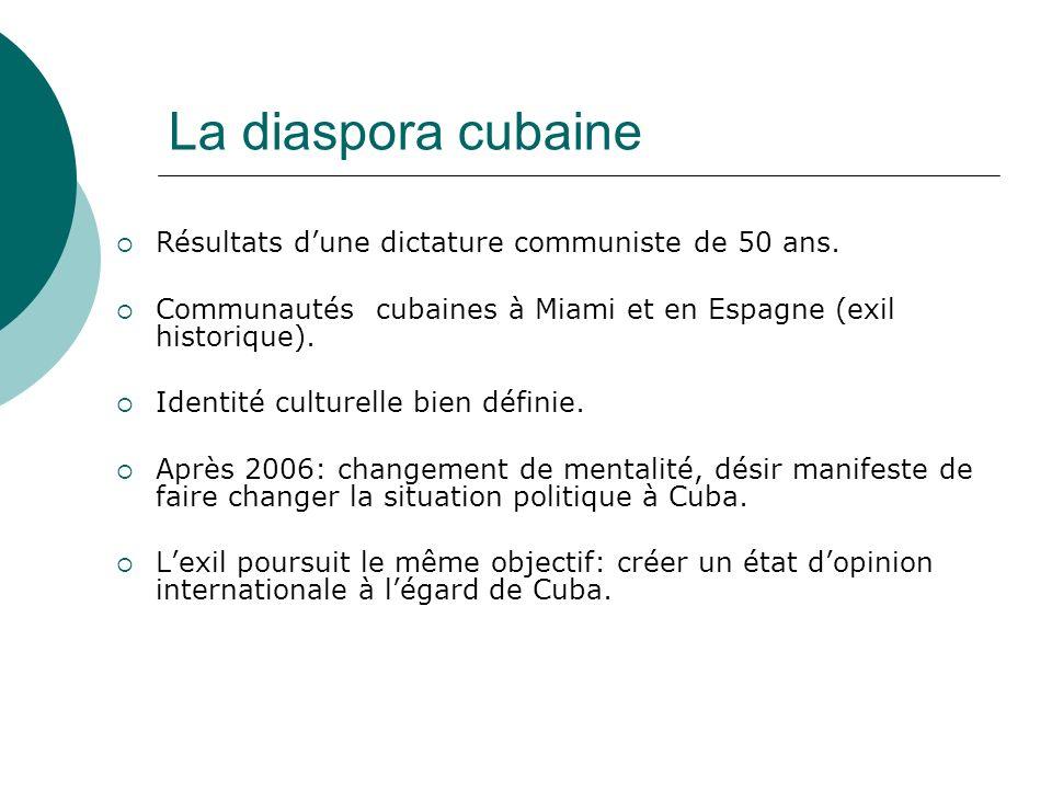 La diaspora cubaine Résultats dune dictature communiste de 50 ans. Communautés cubaines à Miami et en Espagne (exil historique). Identité culturelle b