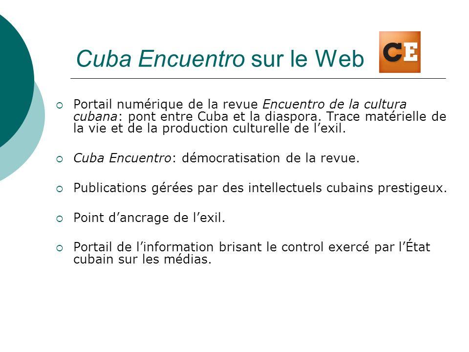 Cuba Encuentro sur le Web Portail numérique de la revue Encuentro de la cultura cubana: pont entre Cuba et la diaspora. Trace matérielle de la vie et