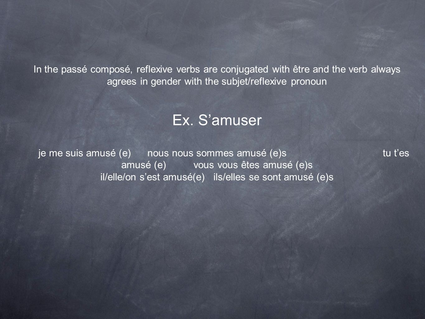 In the passé composé, reflexive verbs are conjugated with être and the verb always agrees in gender with the subjet/reflexive pronoun Ex. Samuser je m