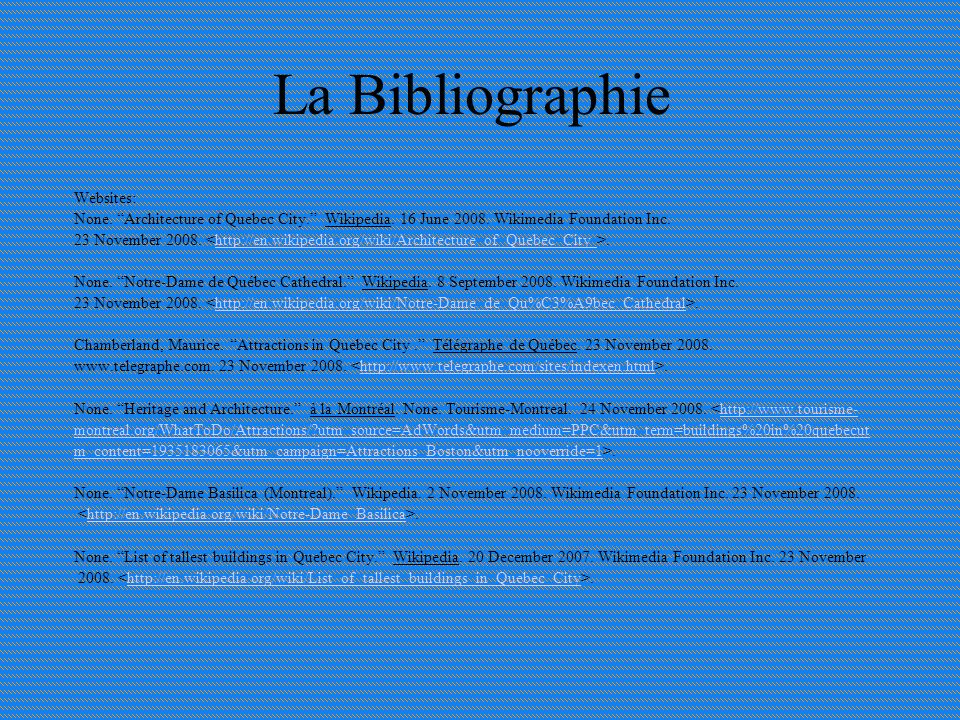 La Bibliographie Websites: None. Architecture of Quebec City.