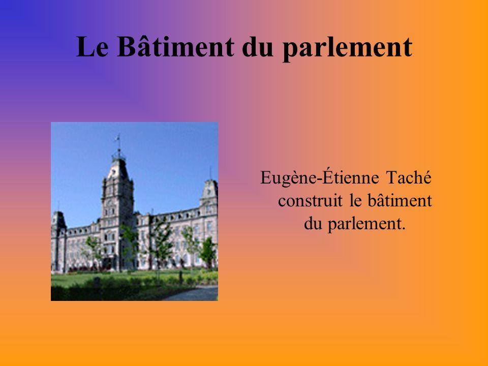 Le Bâtiment du parlement Eugène-Étienne Taché construit le bâtiment du parlement.