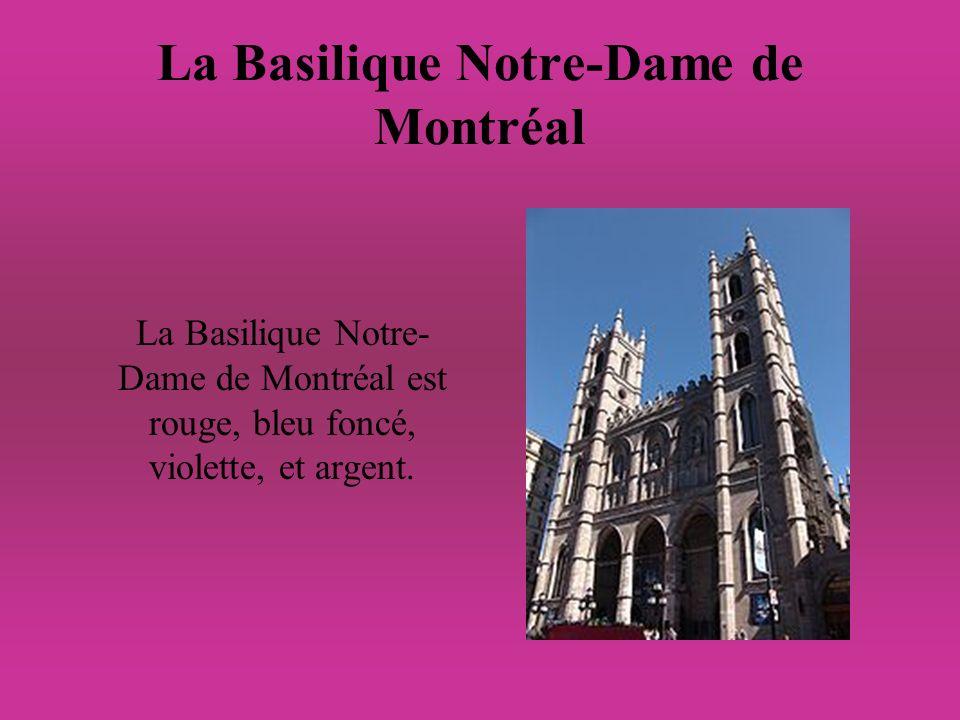 La Basilique Notre-Dame de Montréal La Basilique Notre- Dame de Montréal est rouge, bleu foncé, violette, et argent.